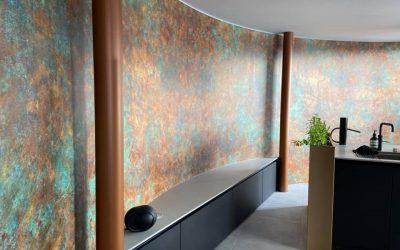 Watervilla voorzien van behang